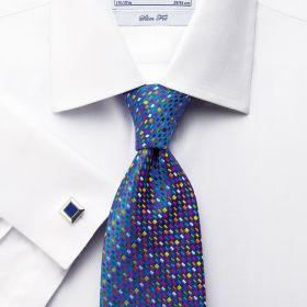 Мужская рубашка большого размера под запонки  белая Charles Tyrwhitt приталенная Slim Fit (FE013WHT)