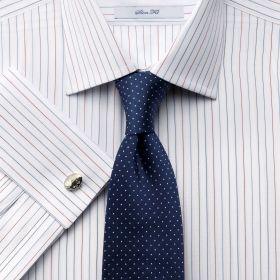 Мужская рубашка большого размера под запонки белая в тонкую полоску Charles Tyrwhitt приталенная Slim Fit