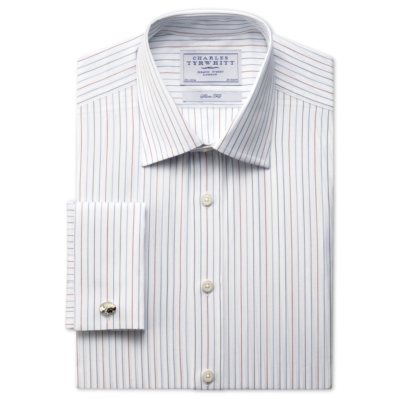 5fefbe13130 Мужская рубашка большого размера под запонки белая в тонкую полоску Charles  Tyrwhitt приталенная Slim Fit