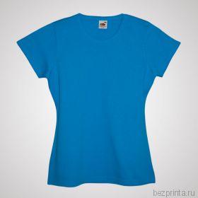 Женская голубая футболка без рисунка FRUIT OF THE LOOM