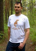 Мужская белая футболка с рисунком лисы.