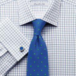 Мужская рубашка под запонки в сине-зеленую клетку Charles Tyrwhitt сильно приталенная Extra Slim Fit