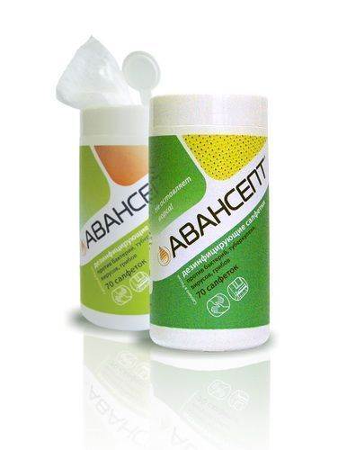 Авансепт , салфетки с дезинфицирующим и моющим эффектом для быстрой дезинфекции,  в тубе 70 шт