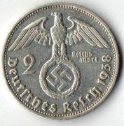 2 рейхсмарки.1938 год. G. Серебро.