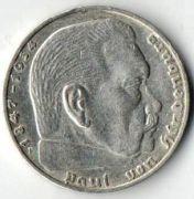 2 рейхсмарки. 1939 год. F. Серебро.