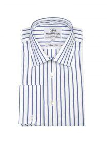 Мужская рубашка под запонки белая в синюю полоску Harvie & Hudson приталенная Slim Fit (01J0135NVY)