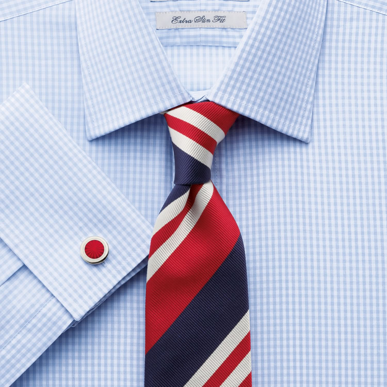 0ea882b9f7a Мужская рубашка под запонки в синюю клетку Charles Tyrwhitt сильно  приталенная Extra Slim Fit не мнущаяся