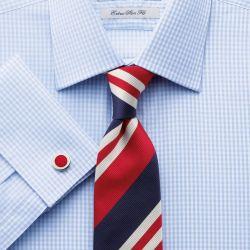 Мужская рубашка под запонки в синюю клетку Charles Tyrwhitt сильно приталенная Extra Slim Fit (RD028SKY)