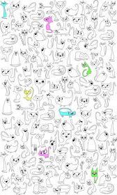 раскраски Кошки вертикальные