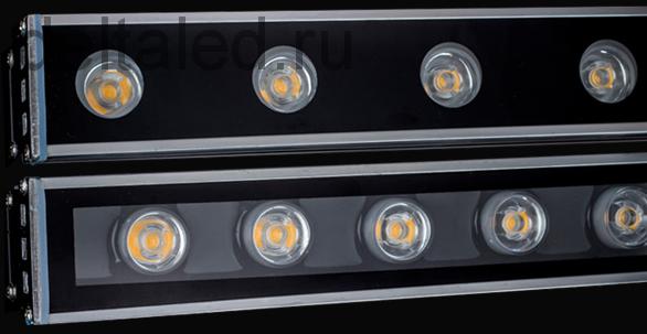 Линейный светодиодный прожектор, герметичный 24W 220V теплого белого свечения
