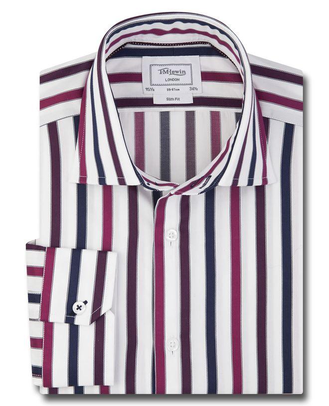 36d50ff6169 Мужская рубашка в красно-синюю полоску T.M.Lewin приталенная Slim Fit  (49461)