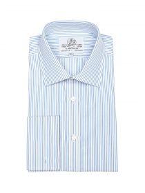 Мужская рубашка под запонки большого размера с длинным рукавом белая с синюю полоску Harvie & Hudson приталенная Slim Fit (01J0186BLU)