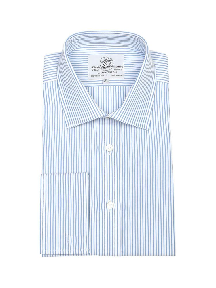 0745f9287f6 Мужская рубашка под запонки большого размера с длинным рукавом белая с  синюю полоску Harvie   Hudson