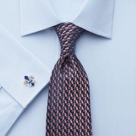 Мужская рубашка под запонки синяя Charles Tyrwhitt приталенная Slim Fit (FE014SKY)