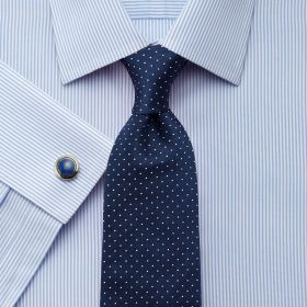 Мужская рубашка под запонки в синюю полоску Charles Tyrwhitt не мнущаяся Non Iron приталенная Slim Fit (FN237Sky)