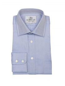 Мужская рубашка большого размера с длинным рукавом синяя Harvie & Hudson приталенная Slim Fit (01J0018BLU)