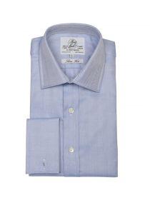Мужская рубашка под запонки синяя Harvie & Hudson приталенная Slim Fit (01J0097BLU)