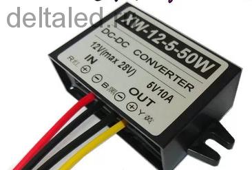 Преобразователь с 12-24 V на  5V10A DC-DC для питания светодиодного экрана автомобиля, IP67