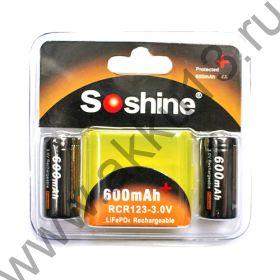 LiFePo4 Soshine RCR123 (16340) 600mah (2шт/блистер)