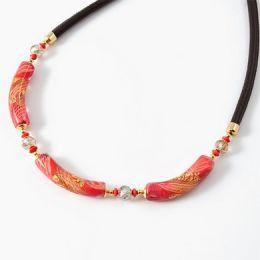 Колье Майя с тремя бусинами тубами муранское стекло
