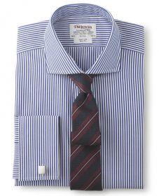 Мужская рубашка под запонки синяя в белую полоску T.M.Lewin приталенная Slim Fit (34818)