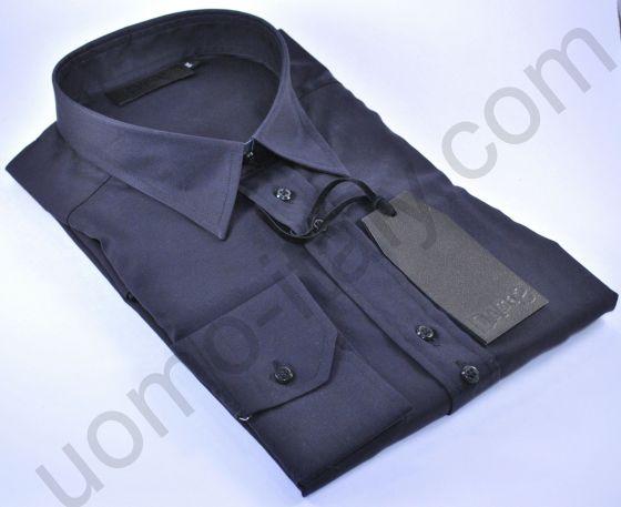 Рубашка мужская черная с погонами (последний размер 43)