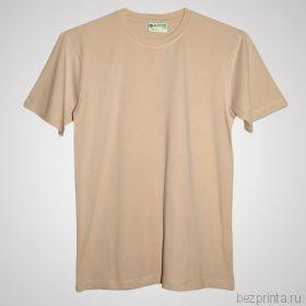 Мужская бежевая футболка стрейч без рисунка REDFORT