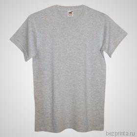 Мужская серая футболка без рисунка FRUIT OF THE LOOM