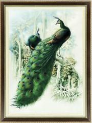 """Набор для вышивания крестом """"Два  зеленых павлина"""" (шелковые нити)"""