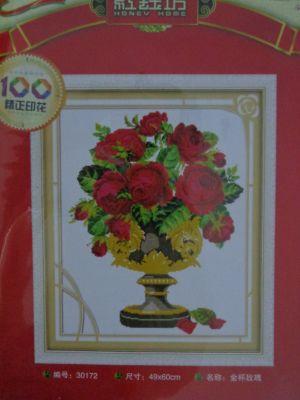 """Купить набор для вышивания крестом """"Алые розы в вазе"""""""