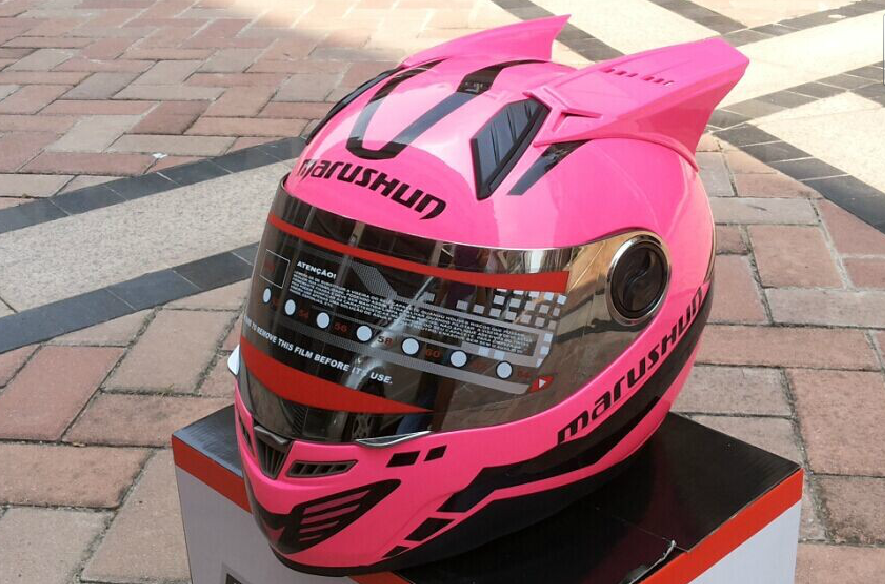 Мотошлем Marushin 999 c ушами (интеграл) розовый