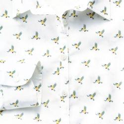 Женская рубашка белая с рисунком Charles Tyrwhitt  приталенная Fitted (WE078MLT)