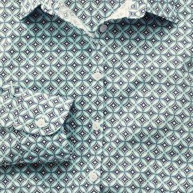 Женская рубашка зеленая с рисунком Charles Tyrwhitt  приталенная Fitted (WE080NAV)