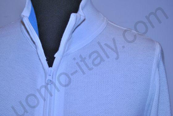 (арт.0410 BIANCO) Кофта Giorgio Porta белая полностью на молнии (последний размер 52)