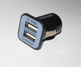 Мини 2port USB адаптер в прикуриватель автомобиля