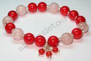 """Браслет из мадагаскарского розового кварца, красного коралла и серебра """"Принцесса"""""""