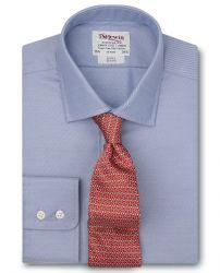 Мужская рубашка синяя T.M.Lewin приталенная Slim Fit (52558)