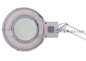 Лампа лупа на струбцине круглая настольная 8Х с подсветкой, белая  REXANT