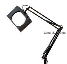 Лампа лупа на струбцине квадратная настольная 3Х с подсветкой, черная  REXANT