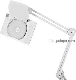 Лампа лупа на струбцине квадратная настольная 5Х с подсветкой 108 LED, белая  REXANT