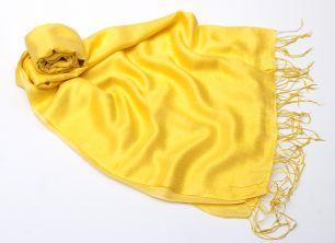 Жёлтый шёлковый палантин (под заказ)