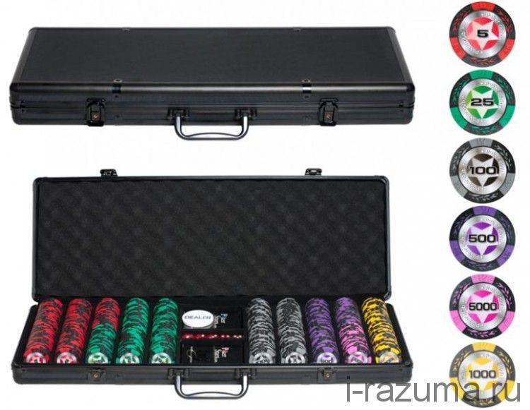 Покерный набор на 500 фишек «Black Star» (фишка 14 гр./чёрный алюминиевый кейс)