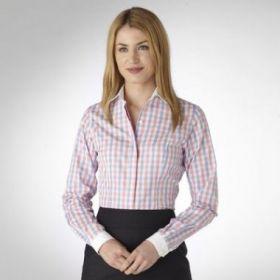 Женская рубашка белая в сине-розовую клетку T.M.Lewin приталенная Fitted (43398)