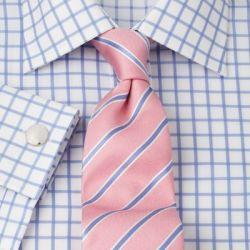 Рубашка мужская под запонки белая в крупную голубую клетку T.M.Lewin не мнущаяся Non Iron приталенная Slim Fit (36807)