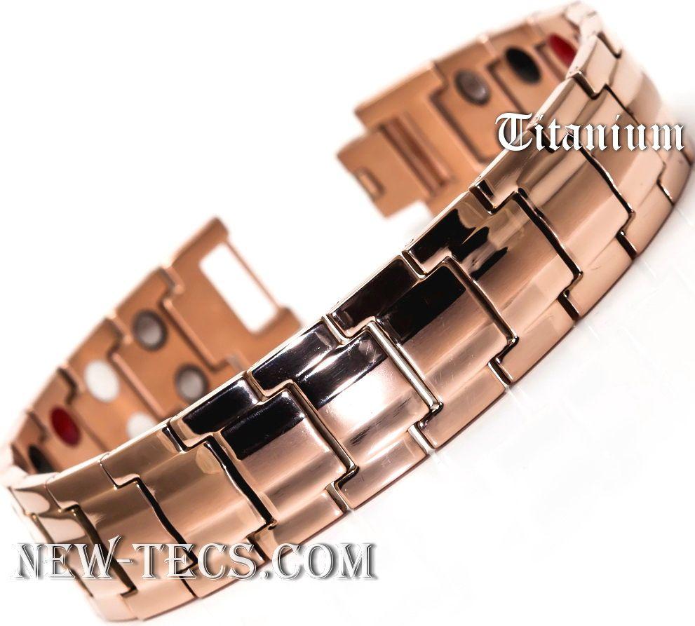 Титановый магнитный браслет TY246JMNT-Mj-gold