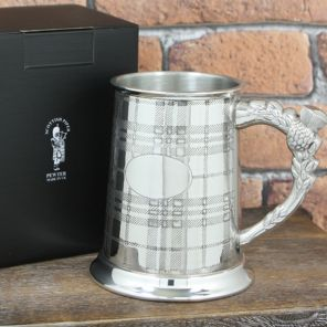 Кельтский Танкард (пивная кружка) - Шотландская Клетка -Тартан (ручка в виде чертополоха)