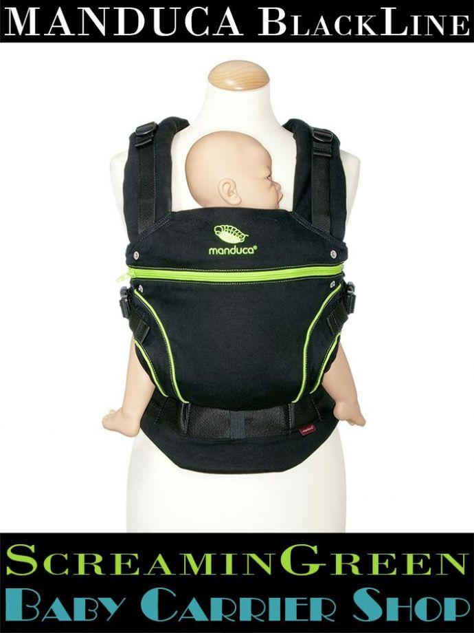 Слинг-рюкзак MANDUCA Baby And Child Carrier Эргорюкзак для переноски малышей «ScreaminGreen BlackLine» [Мандука слингорюкзак Черный-Зеленый]