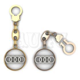 """Золотой брелок Ауди  """"Audi""""."""