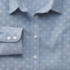 Женская рубашка серая с белым рисунком, мягкая ткань шамбре, Charles Tyrwhitt приталенная Fitted (WW060BLU)
