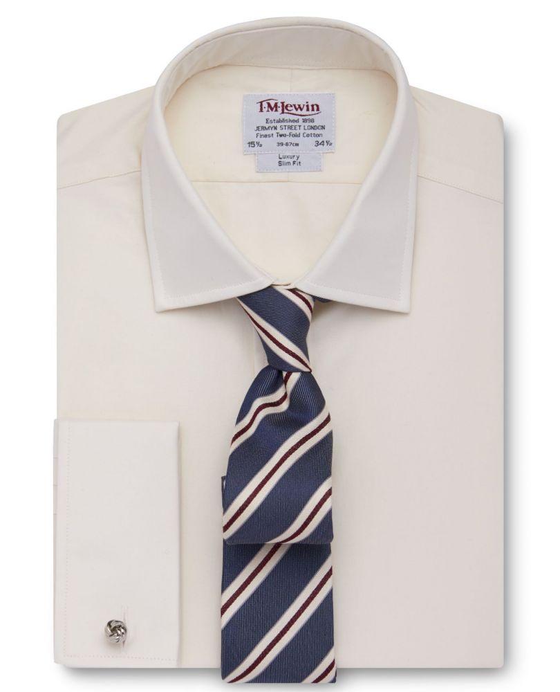 98998d1b4d4 Мужская рубашка под запонки цвета шампань T.M.Lewin приталенная Slim Fit  (48344)